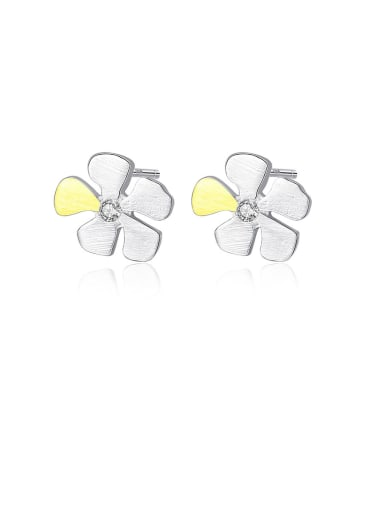 925 Sterling Silver With Cubic Zirconia  Cute Two-Color Flower Stud Earrings