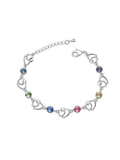 Simple Hollow Double Heart Cubic Swarovski Crystals Alloy Bracelet