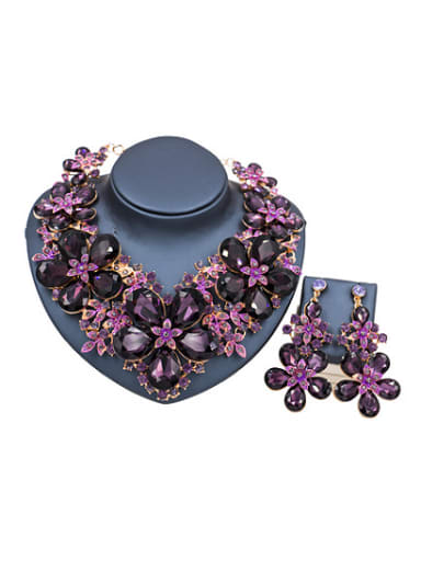 2018 2018 Exaggerated Flower Glass Rhinestones Two Pieces Jewelry Set