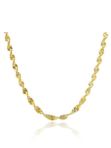Women Wave Design 24K Gold Plated Copper Necklace