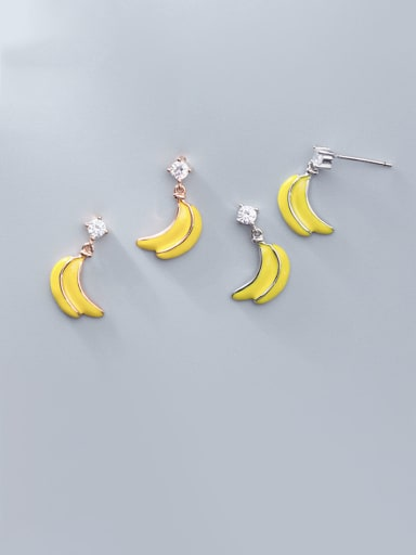925 Sterling Silver With Platinum Plated Cute Banana Stud Earrings