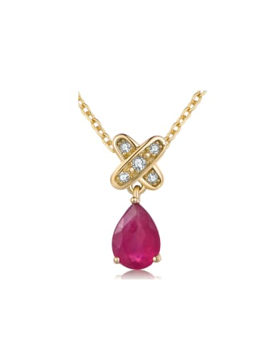 Water Drop 14 K Gold Plated Women Necklace