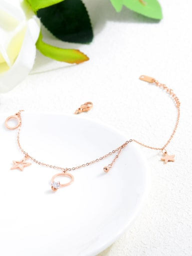Stainless Steel With Rose Gold Plated Simplistic Star Anklets