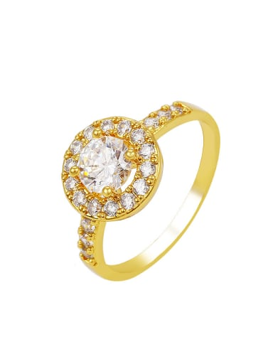 Copper Alloy 24K Gold Plated Creative Ethnic Zircon Women Engagement Ring