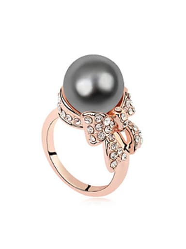 Fashion Imitation Pearl Crystals-covered Bowknot Alloy Ring