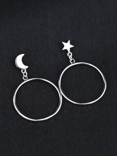 Personalized Moon Star Round Earrings