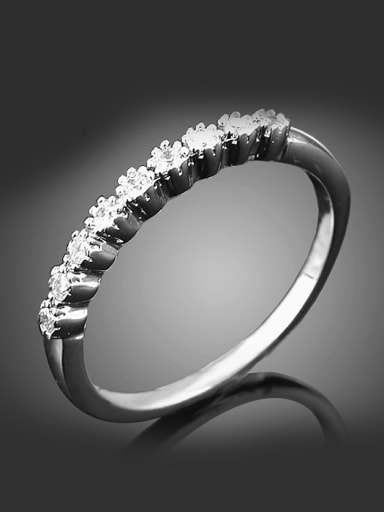 Simple Cubic Shiny Zirconias Platinum Plated Copper Ring