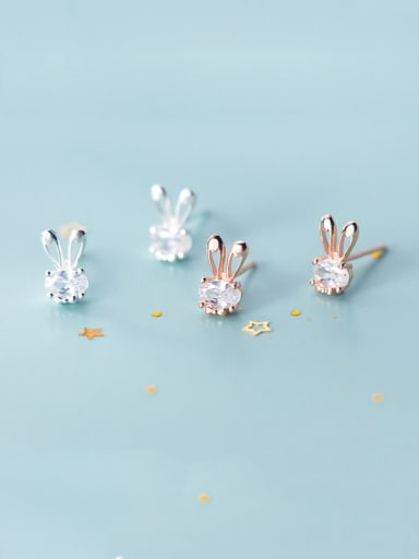 925 Sterling Silver With Rose Gold Plated Cute Rabbit Stud Earrings