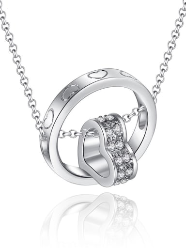Fashion Heart Ring Cubic Zirconias Alloy Necklace