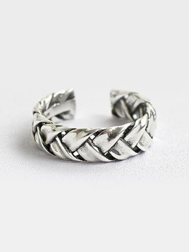 Personalized Antique Silver Plated Woven Opening Silver Ring