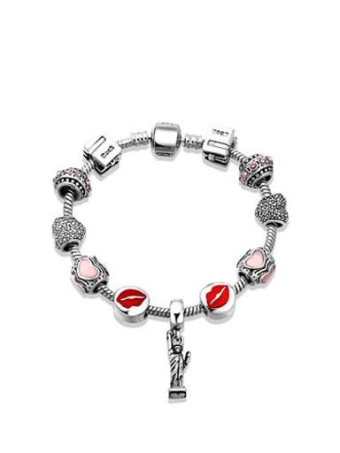 Women Elegant Lip Shaped Enamel Bracelet