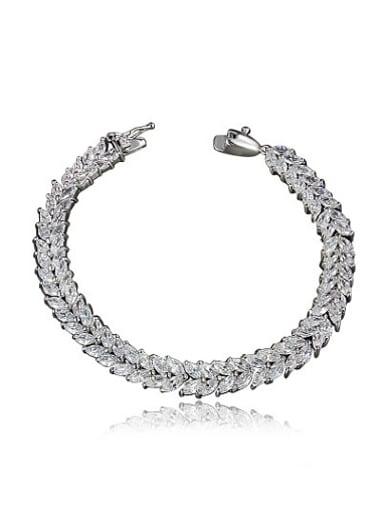 Creative Platinum Plated Letter V Shaped Zircon Bracelet