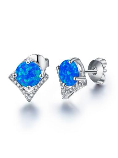 Blue Opal Stone Zircon stud Earring