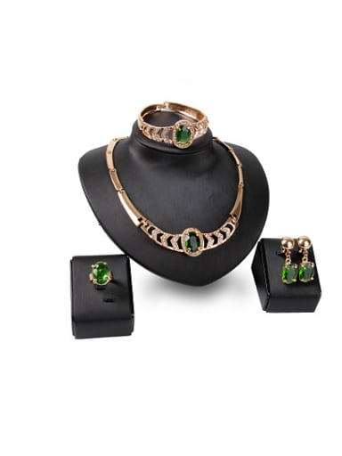 Alloy Imitation-gold Plated Vintage style Oval-shaped Artificial Stone Four Pieces Jewelry Set