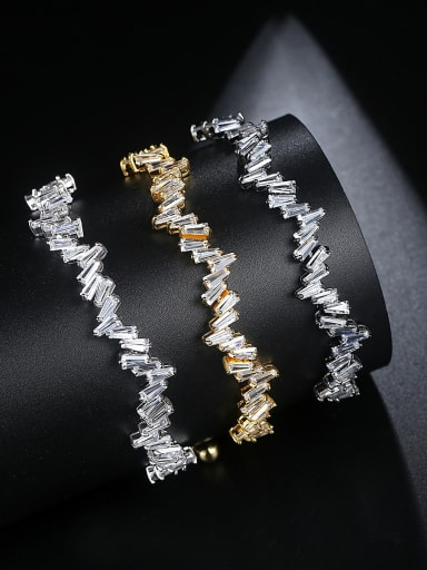 Copper inlaid AAA zircon geometric telescopic Bracelet