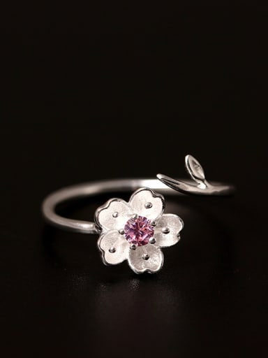 Korean Style Pink Flower Opening Ring