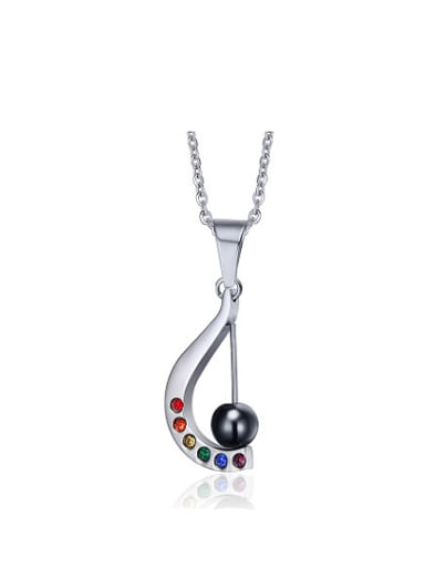 Colorful Harp Shaped Stainless Steel Rhinestone Pendant