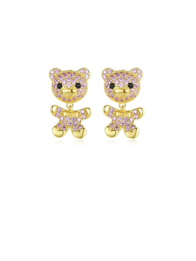 Copper With Gold Plated Delicate Animal Bear Drop Earrings