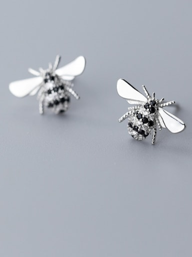 999 Fine Silver With Platinum Plated Cute Insect  BeeStud Earrings