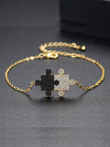 Copper inlaid AAA zircons black and white double color puzzle Bracelet