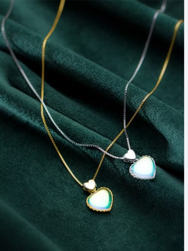 925 Sterling Silver With Acrylic  Simplistic Heart Necklaces