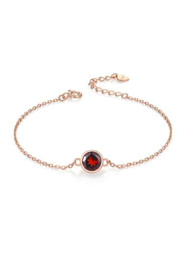 Small Round Red Garnet Women Simple Bracelet