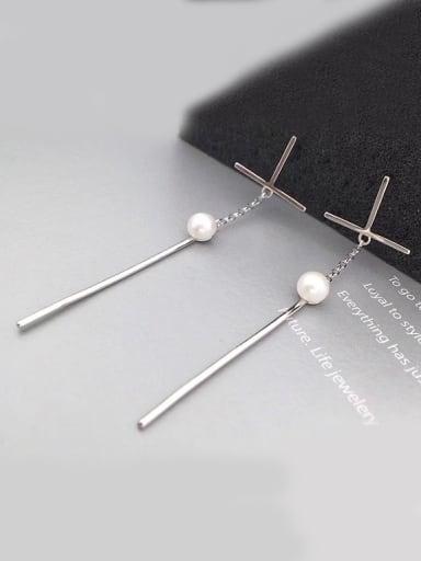 Freshwater Pearl Cross Drop threader earring