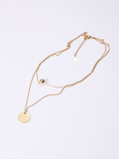 Titanium With Gold Plated Simplistic Smooth  Geometric Multi Strand Necklaces