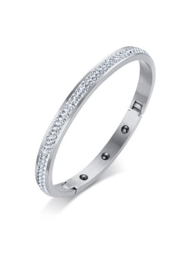 Exquisite Silver Plated Geometric Shaped Rhinestones Bangle