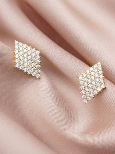 925 Sterling Silver With Gold Plated Fashion Geometric Stud Earrings