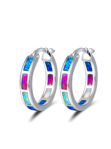 Colorful Opal Round Shaped Fashion Women Earrings