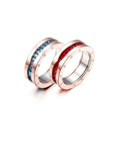Ruby Sapphire Rose Gold Titanium Steel Lovers band ring