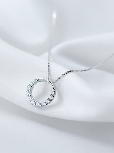 All-match Round Shaped Rhinestone S925 Silver Necklace