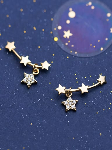 925 Sterling Silver With Cubic Zirconia  Cute Star Stud Earrings