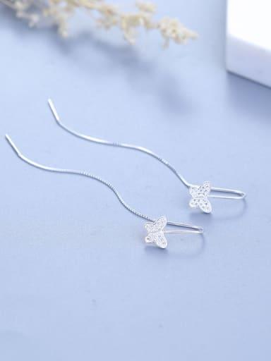 Elegant Little Butterfly Tiny Zirconias 925 Silver Line Earrings