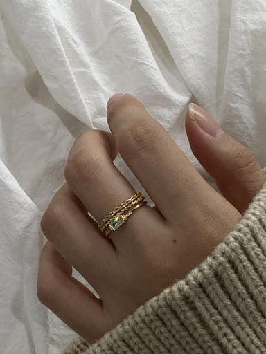 925 Sterling Silver With Gold Plated Simplistic Geometric Free Size Rings