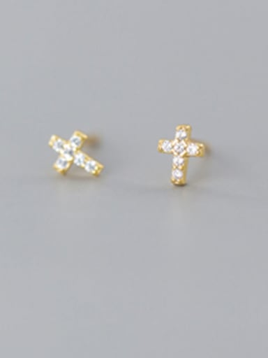925 Sterling Silver With  Cubic Zirconia  Simplistic Cross Stud Earrings
