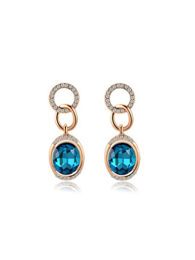 Blue Oval Shaped Austria Crystal Drop Earrings