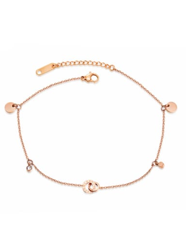 Stainless Steel With Rose Gold Plated Simplistic Geometric Anklets