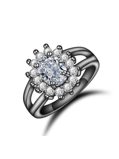 Exquisite Black Gun Plated Flower Shaped Zircon Ring