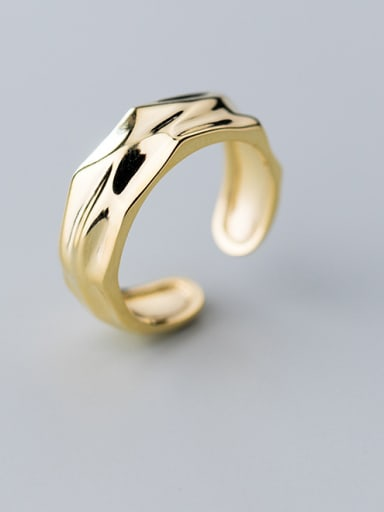 925 Sterling Silver With Gold Plated Fashion Irregular Free Size Rings