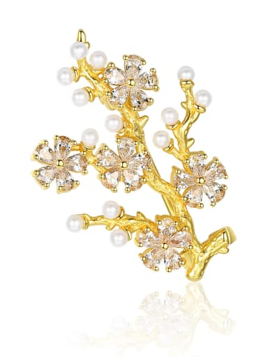 925 Sterling Silver With Artificial Pearl  Cubic Zirconia Trendy Small tree Brooches