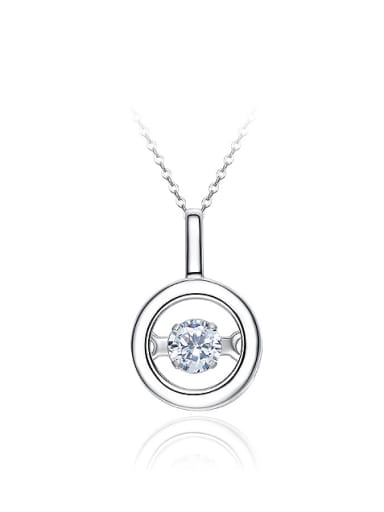 Simple Little Hollow Round Cubic Rotational Zircon 925 Silver Pendant