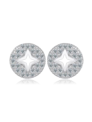 Round Hollow Star Micro Pave Stud Earrings