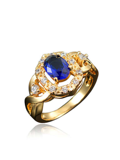 Blue 18K Gold Plated Geometric 4A Zircon Ring