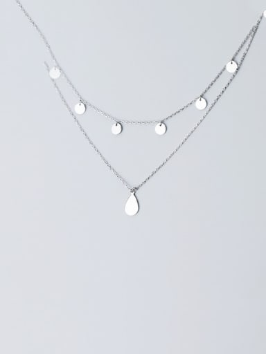 925 Sterling Silver With  Simplistic  Smooth Round Multi Strand Necklaces