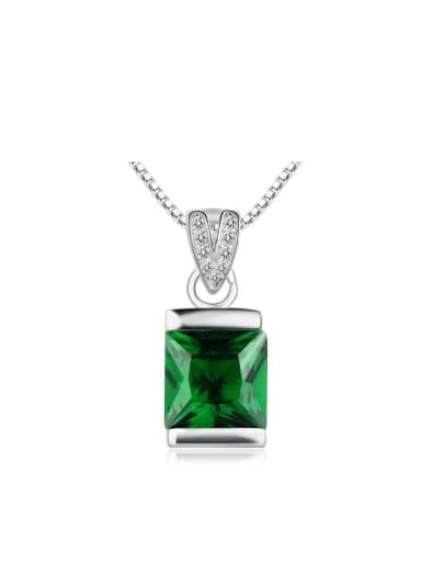 S925 Silver Shining Rectangle Zircon Necklace