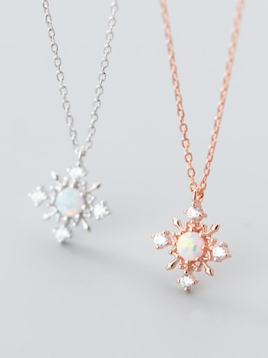 Christmas jewelry:Sterling silver zricon snowflake synthetic opal necklace