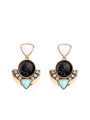 Geometric Color Stones Stud Chandelier earring