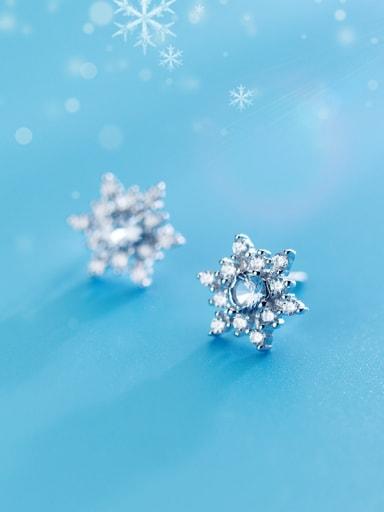 Shimmering Snowflake Shaped Rhinestones S925 Silver Stud Earrings